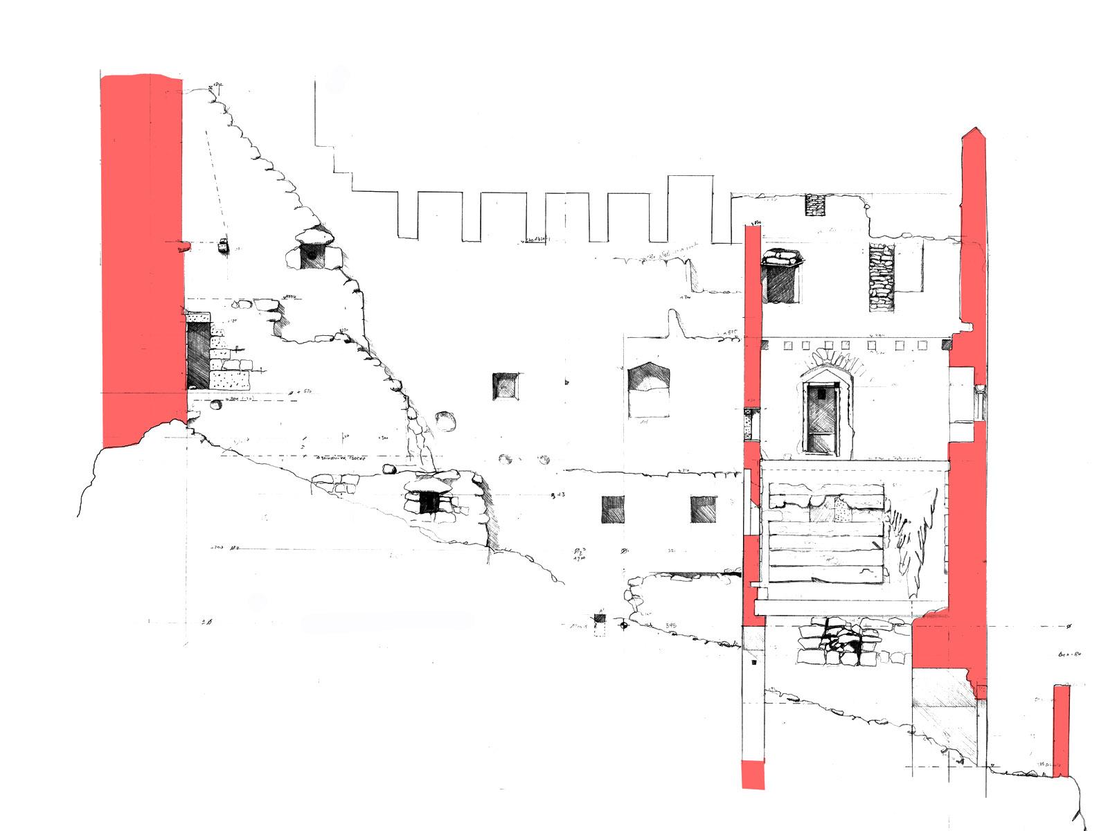 Thernberg: Aufmaß der Palas-Längsseite