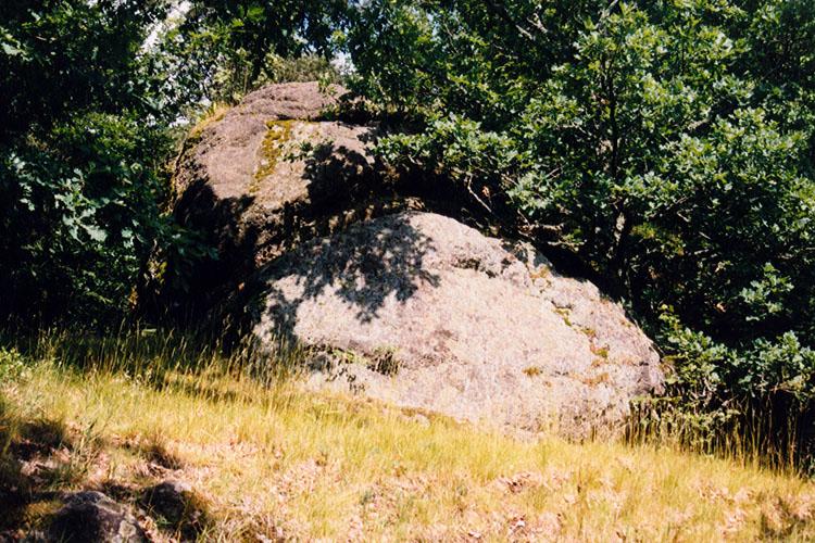Rotenfels: Felsklotz am Burgfelsen, wahrscheinlich Standort des Bergfrieds.