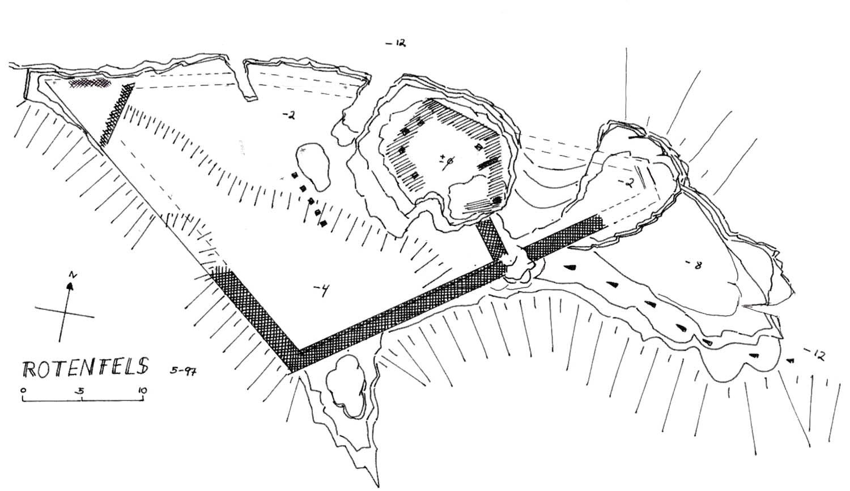 Rotenfels: Grundriss der Burgruine