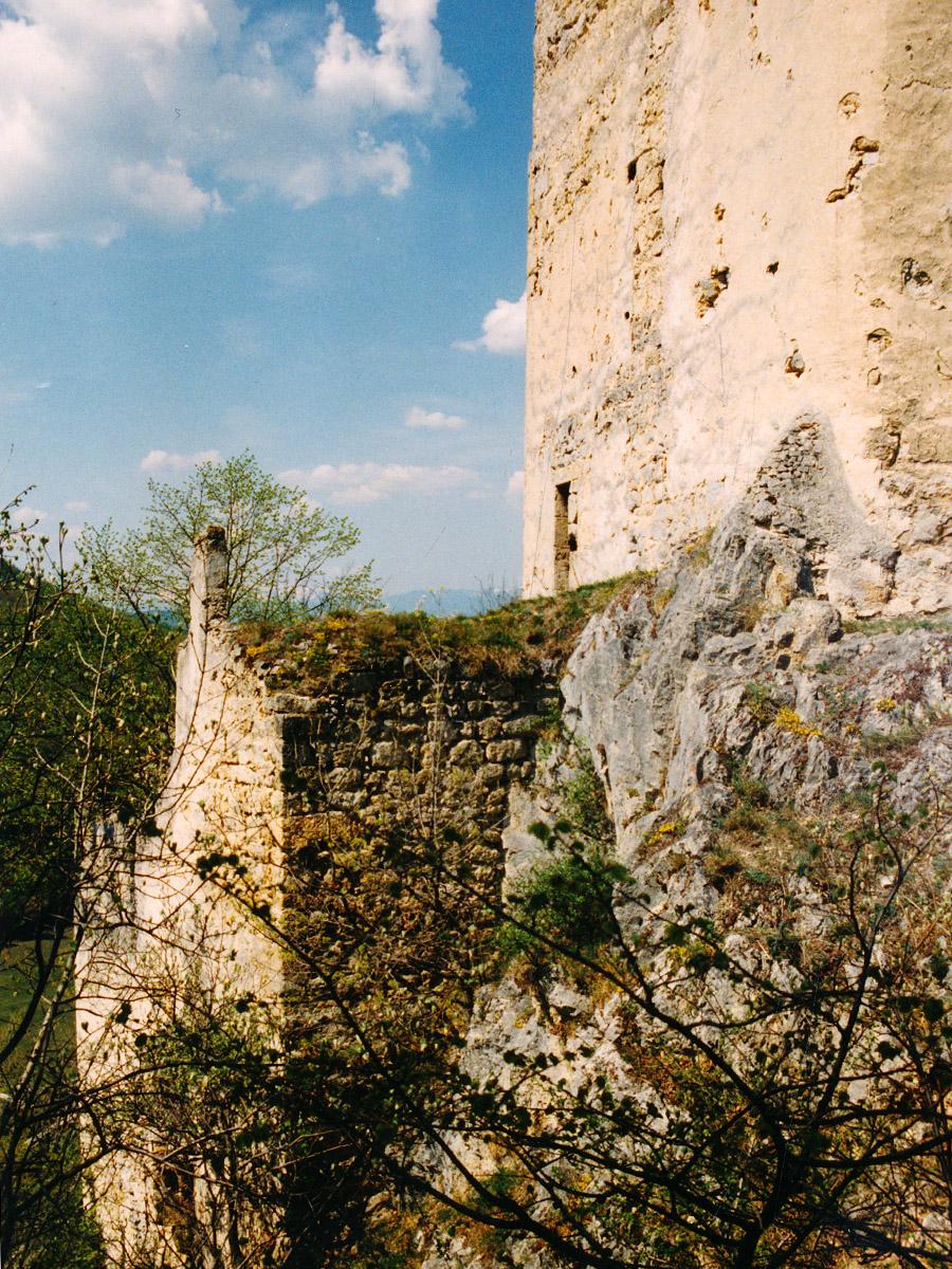 Thernberg: Palas und Bergfried von der Feldseite aus gesehen.