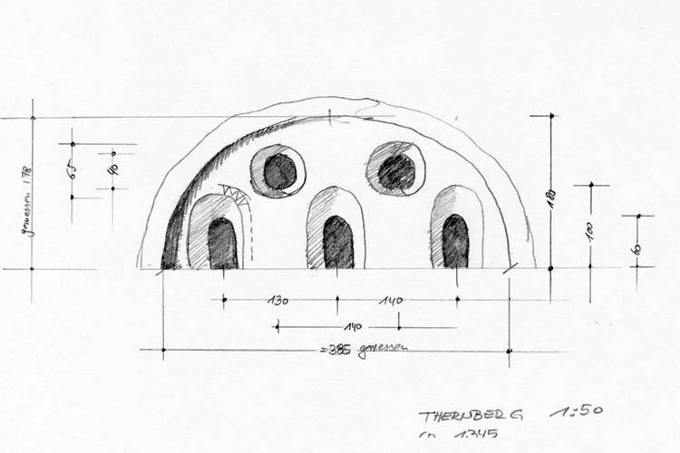 Thernberg: Fenstergruppe bemaßte Skizze