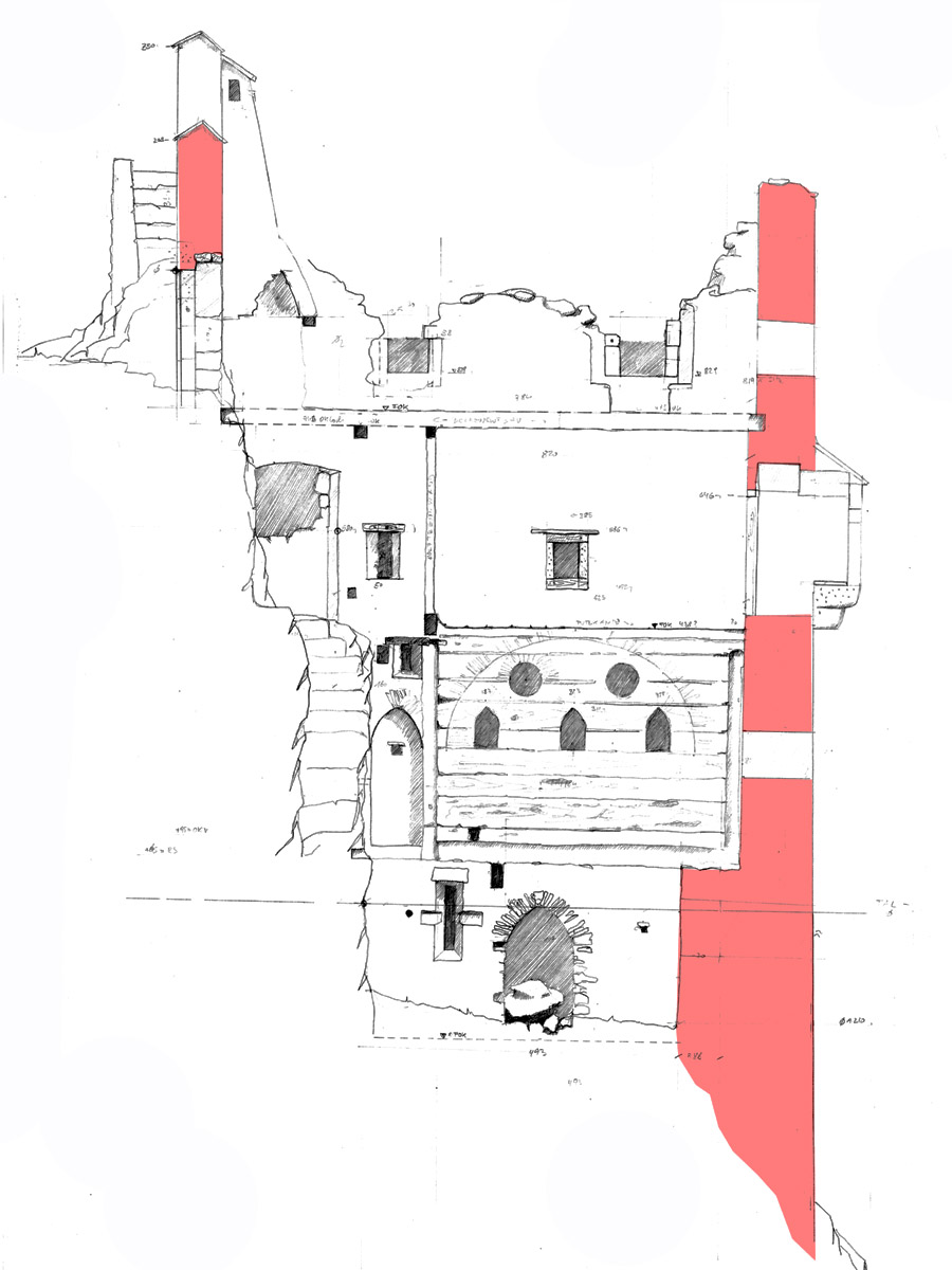 Thernberg: Aufmass der hofseitigen Palaswand mit Fenstergruppe