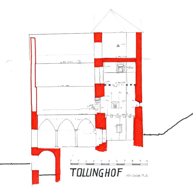 Tollinghof: Längsschnitt durch die Burg