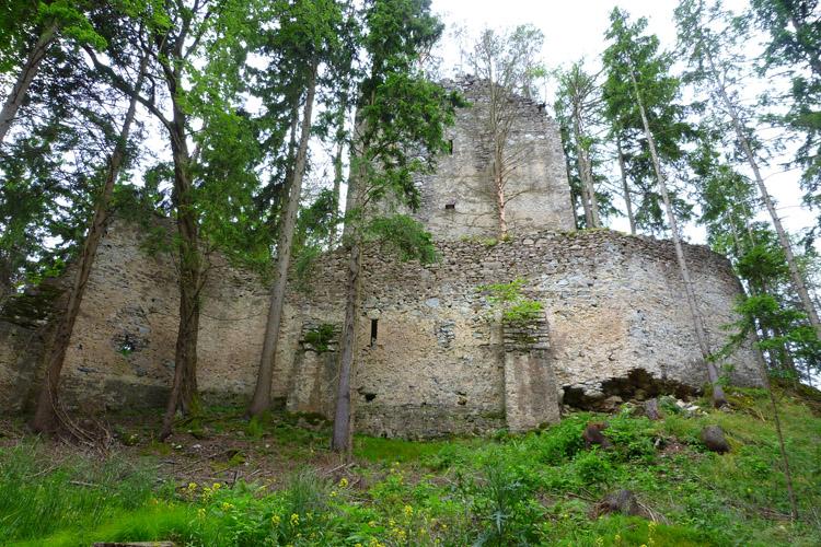 Hungerturm Waldstein: Ringmauer und Wohnturm von Norden gesehen.