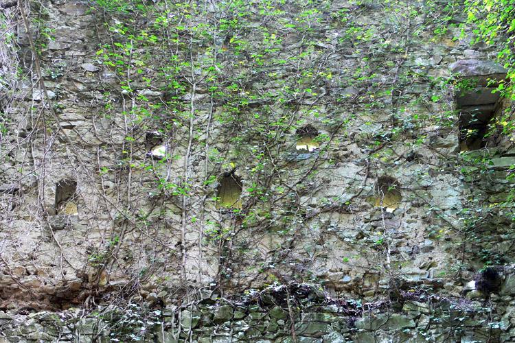 Neu-Wachsenegg: Innenseite der Fenstergruppe am Wohnturm.