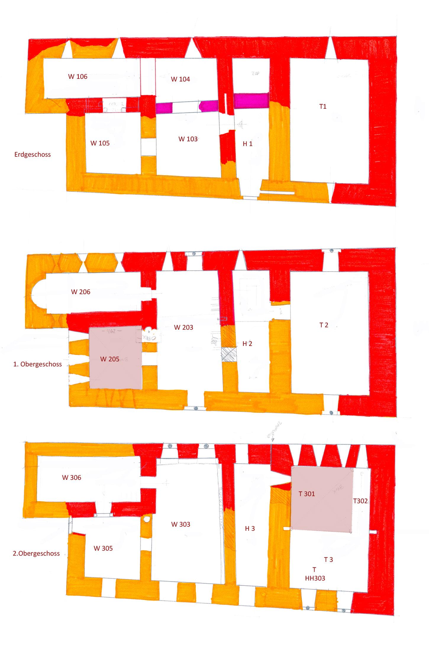 Neu-Waxenegg: Raumfolgeplan EG, 1.OG und 2.OG