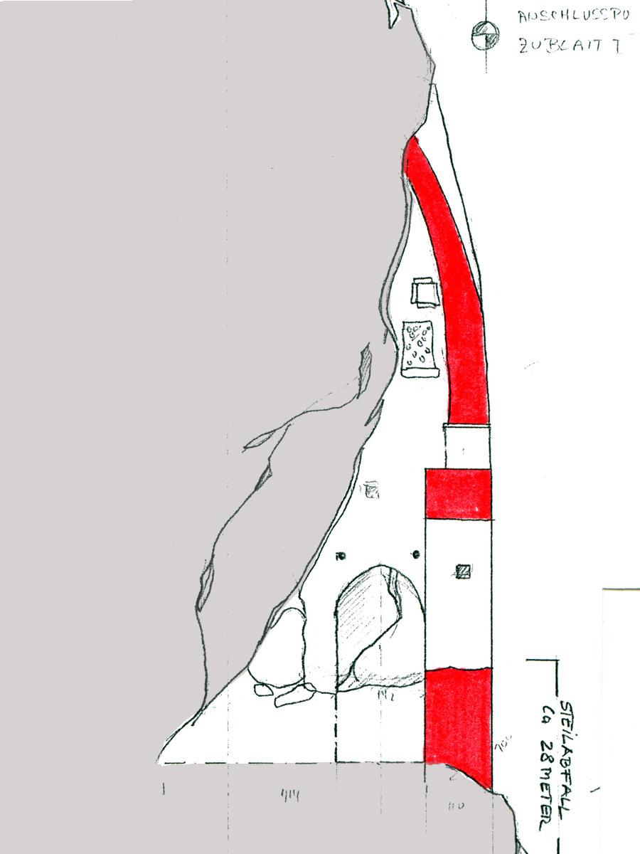 Kammerstein: Schnitt durch die Toranlage hinter Tor 3