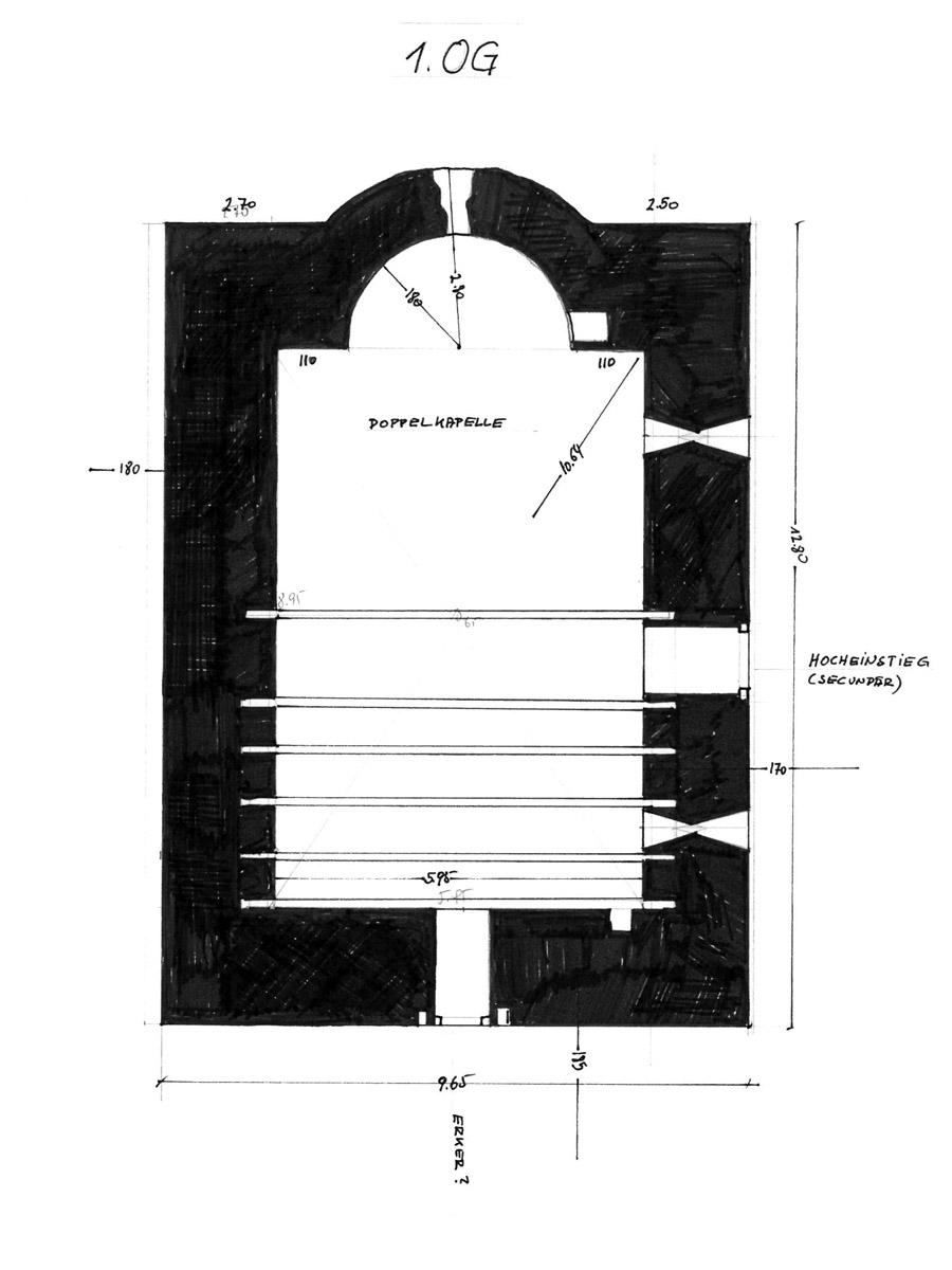 Weyerturm: Grundriss 1. Obergeschoss mit Kapelle.