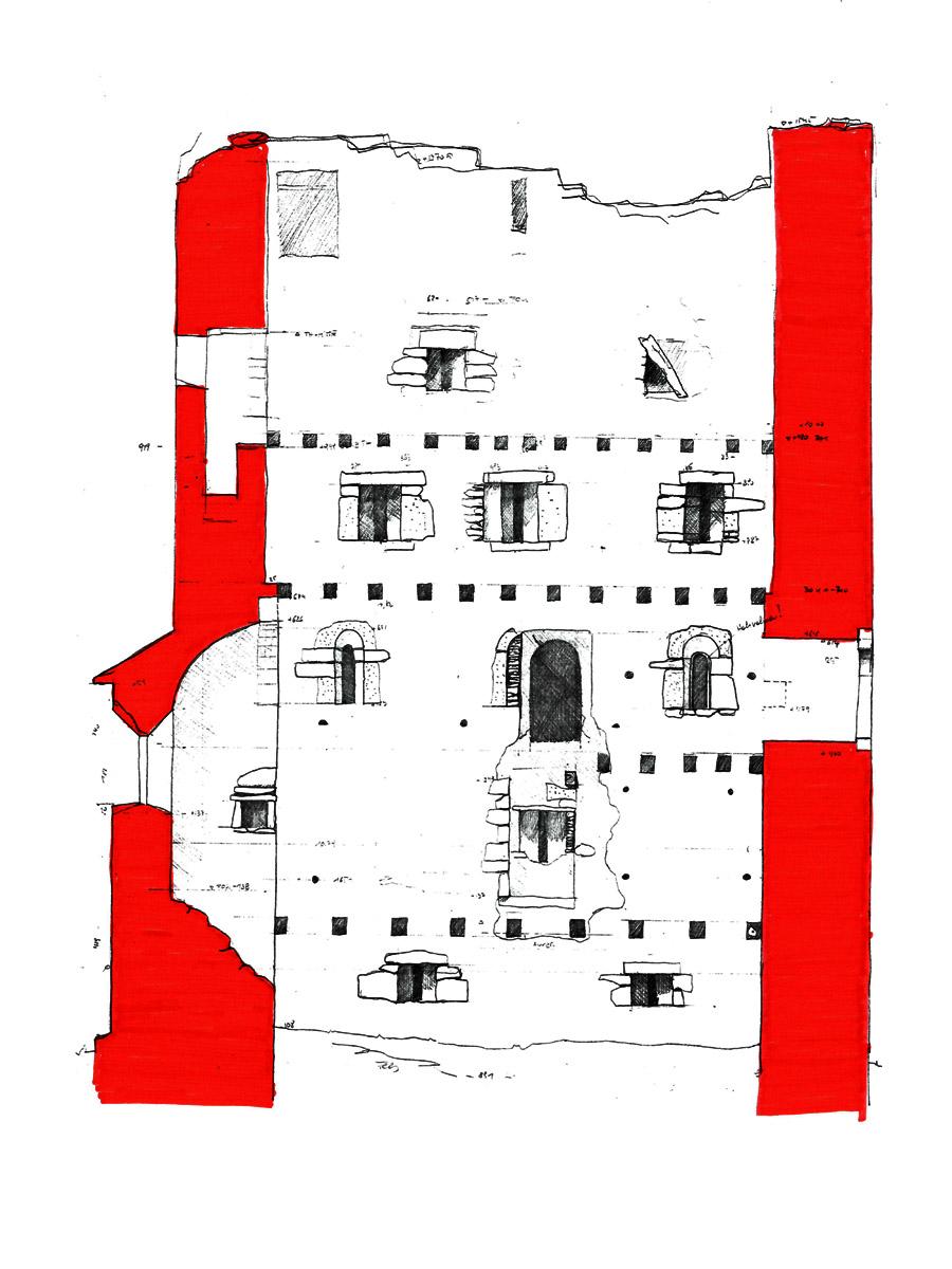 Weyerturm: Schnitt durch den Wohnturm