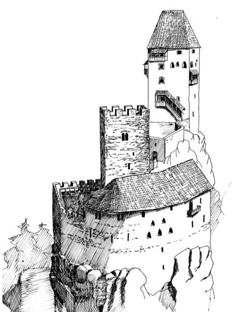Niederkraig: Rekonstruktionsversuch na Abschluss der ersten Bauphase, um 1330.