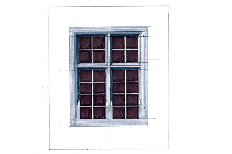 Niederkraig Palas: Aufmass des Kreuzsstockfensters Typ A