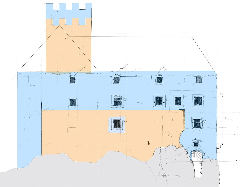 Niederkraig: Westfassade des Palas mit den zwei Hauptbauphasen: um 1300 orange, um 1450 blau.