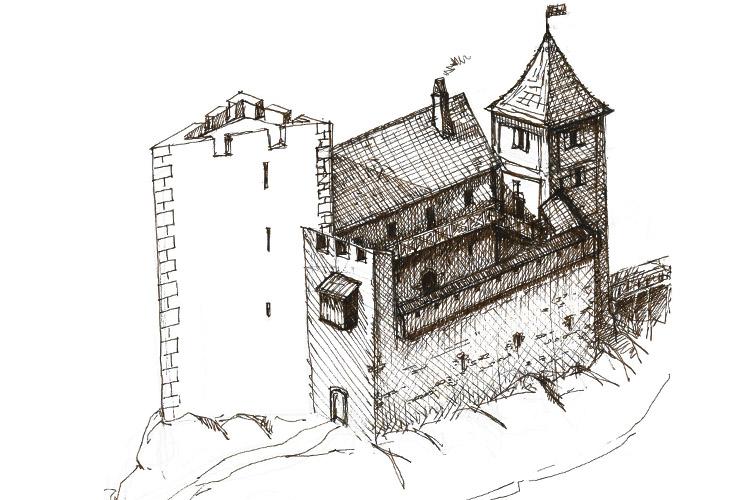 Pflindsberg: Skizze des Zustands um 1400