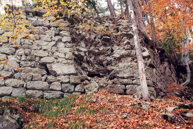 Henneberg: Ringmauer mit opus spicatum Mauerfüllung