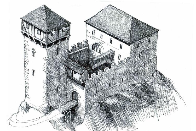 Neuhaus-Trautenfels: Rekonstruktion der Burganlage um 1300