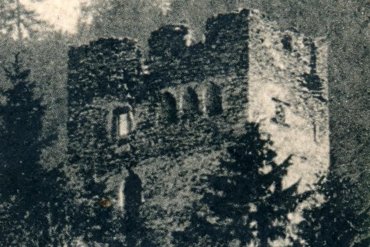 Niederkraig Wohnturm: Ansicht von 1913, mit dem noch erhaltenen Rechteckfenster neben der Fenstergruppe.