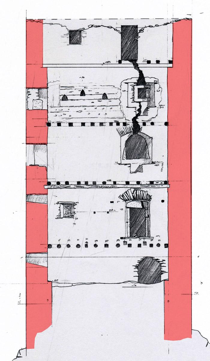 Niederkraig Wohnturm: Aufmass der Südseite.