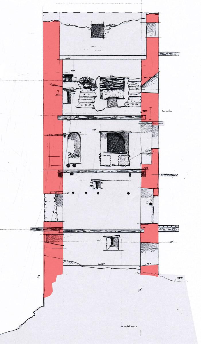 Niederkraig Wohnturm: Aufmass der Ostseite