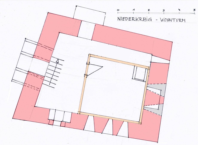 Niederkraig Wohnturm: grundriss 3. Obergeschoss mit Rekonstruktion der Stube.