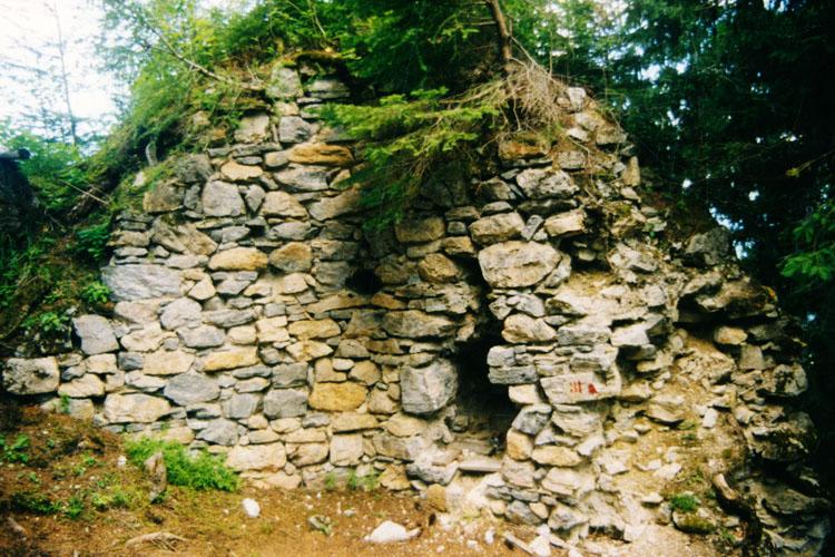 Sulzau-Friedberg: Mauerwerk der Ringmauer, Innenseite