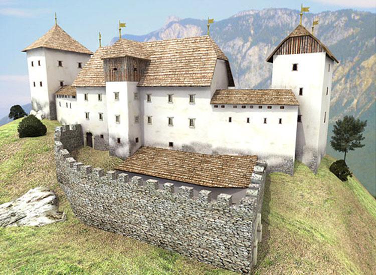 Straßfried: Rekonstruktion der Burganlage durch Iris Mairer