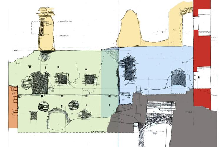 Neu-Leonroth: Wandabwicklung des Kapellentraktes mit Bauphasen