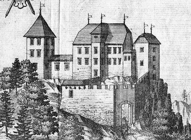 Strassfried: Ansicht von Süden nach Valvasor, um 1688: rechts der nicht sehr hohe Bergfried, links der völlig abgekommenen Wohnturm.