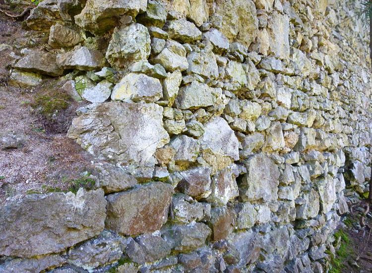 Ehrenfels: Mauerwerk an der Nordseite des Wohntraktes