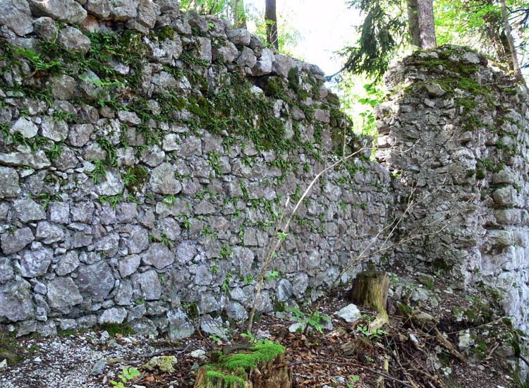 Federaun: Nordseite des verfallenen Bergfrieds. Im Vordergrund der Wiederuafbau in reduzierter mauerstärke, im Hintergrund die Ringmauer, die an den Bergfried angestellt war.