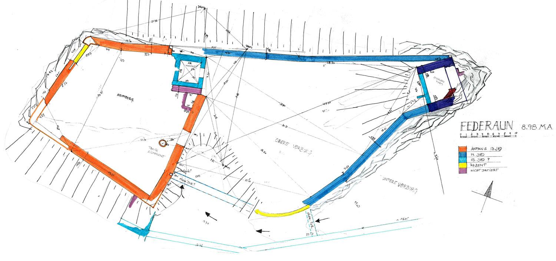 Federaun: Grundriss und Baualterplan der Kernburg