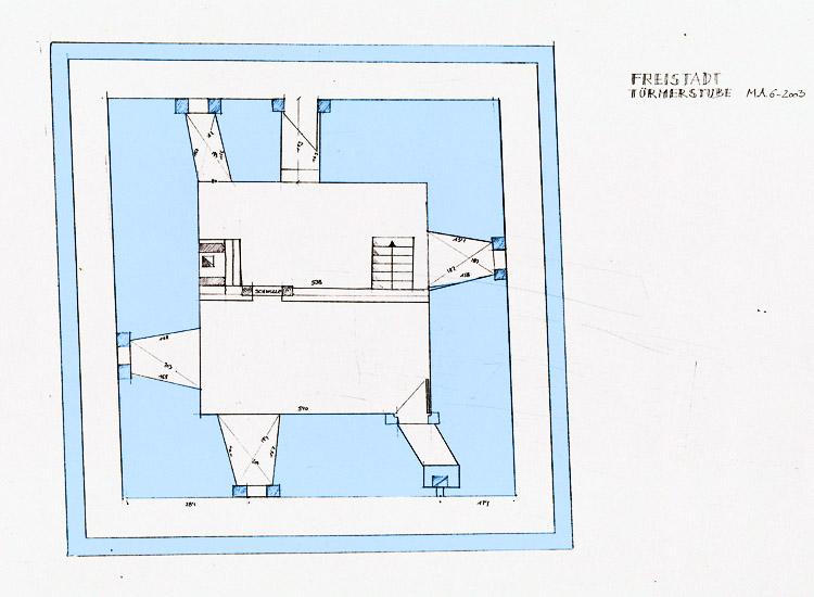 Freistadt: Grundriss der Türmerstube und des Wehrgangs im Bergfried