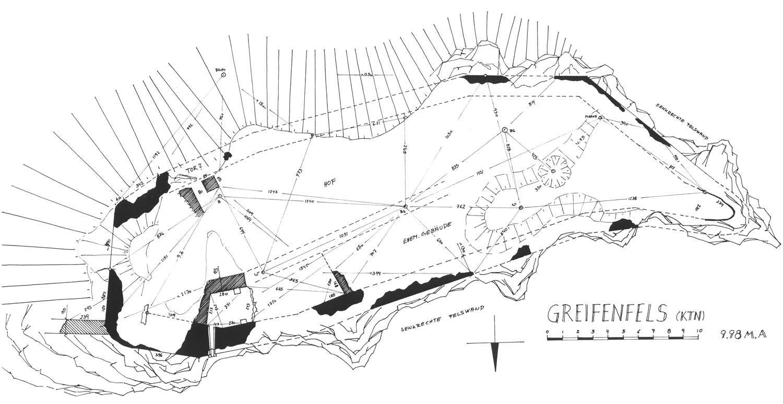 Greifenfels: Grundriss der Burganlage