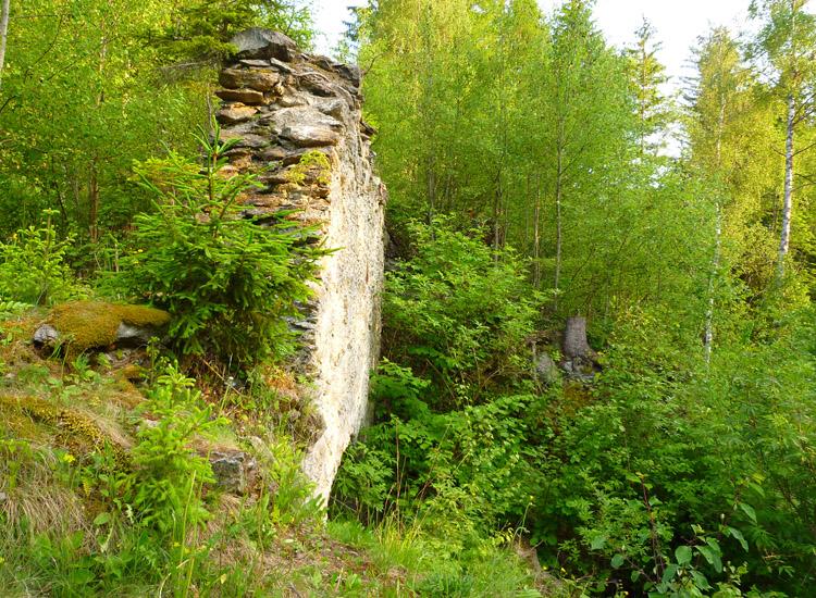 """Leobenegg: Die Mittelwand von Süden aus gesehen, rechts unten der Rundbogen der """"Kapelle"""""""