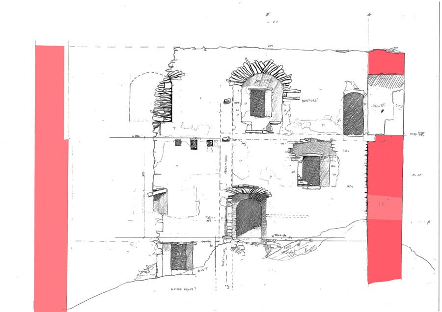 Neu-Leonroth: Wohnturm, Wandabwicklung der Hofseite