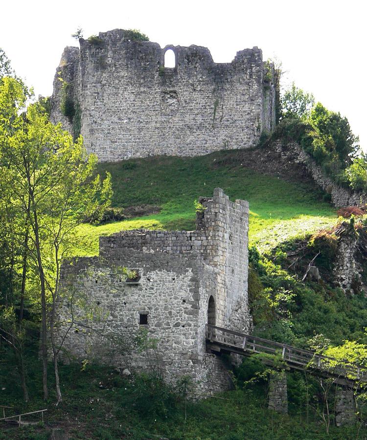 Plainburg: Ostfassade der Kernburg und der Torturm