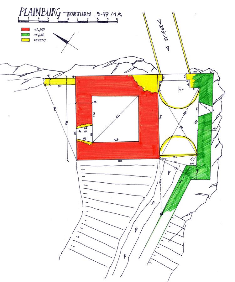 Plainburg: Grundriss und Baualterplan des Torturms
