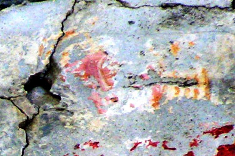 Rabenstein-Virgen: Gesicht mit weißen Konturen