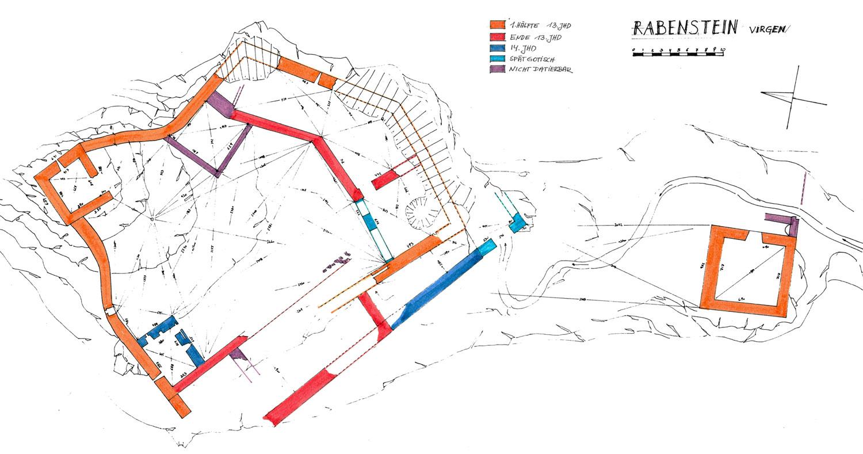 Rabenstein-Virgen: Grundriss und Baualterplan der Burganlage