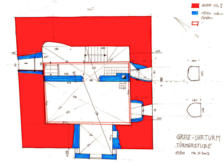 Graz Uhrturm: Grundriss es 2. Obergeschoss mit Rekonstruktion der Türmerstube