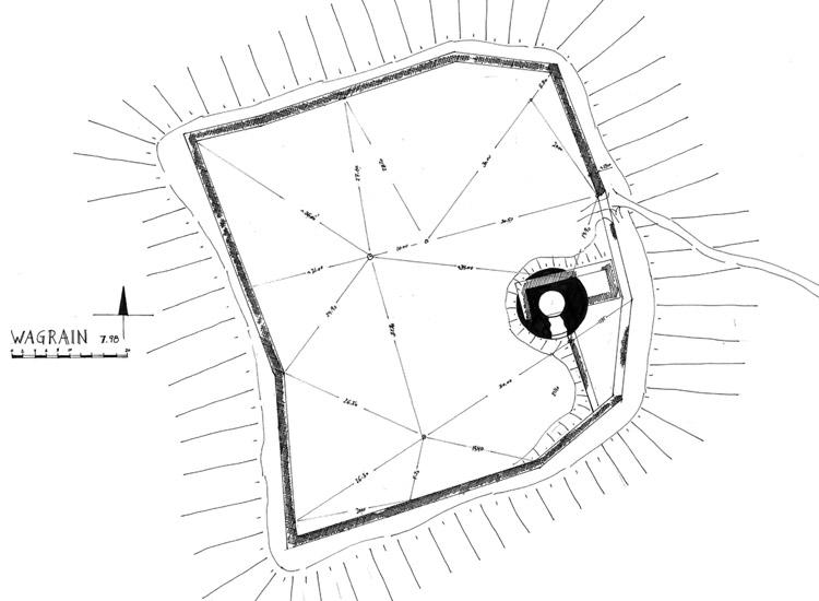 Wagrain: Grundriss der Burganlage, vor den Ausgrabungen (1998)