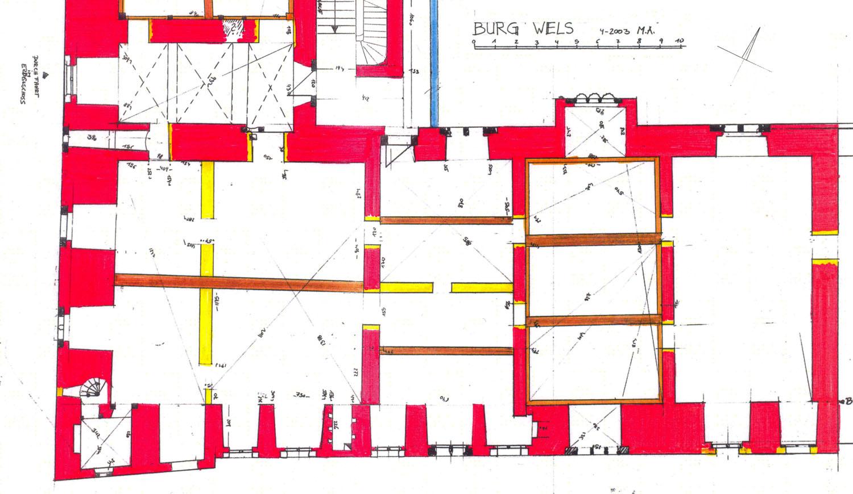 Wels: Grundriss 1. Obergeschoss, Südtrakt