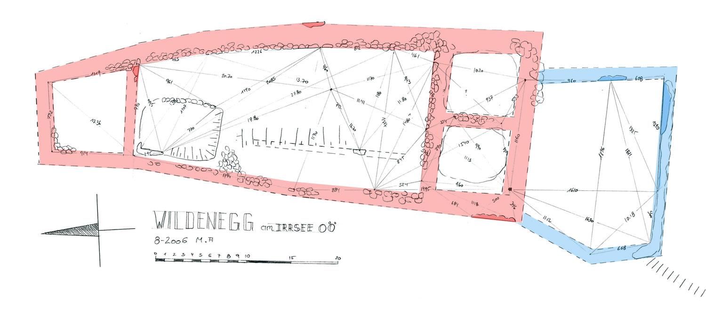 Wildenegg: Grundriss der Hauptburg (rot) und Vorburg (blau)