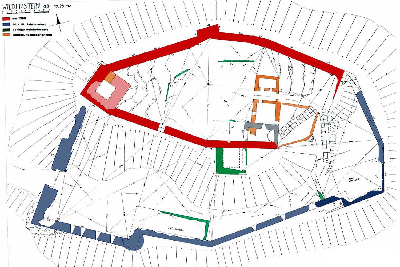 Wildenstein, Grundriss und Baualterplan
