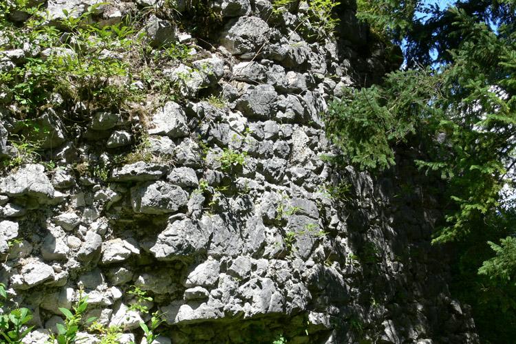 Wildenstein: Ein stück unsanierte Ringmauer, Nordost-Ecke, Innenseite