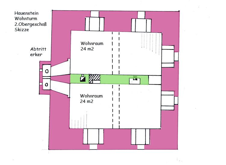 Hauenstein: Wohnturm, 2. Obergeschoß, Skizze der Raumaufteilung,  genordet
