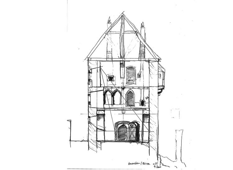 Hauenstein: Schnitt durch den Wohnturm, Blickrichtung nach Süden, Skizze ohne Maßstab