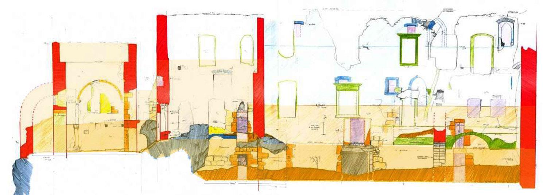 Rauhenstein Palas: die beiden romanischen Stockwerke sind orange unterlegt