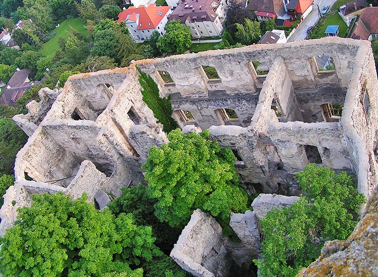 Rauhenstein: Der Palas, vom Bergfried aus gesehen.